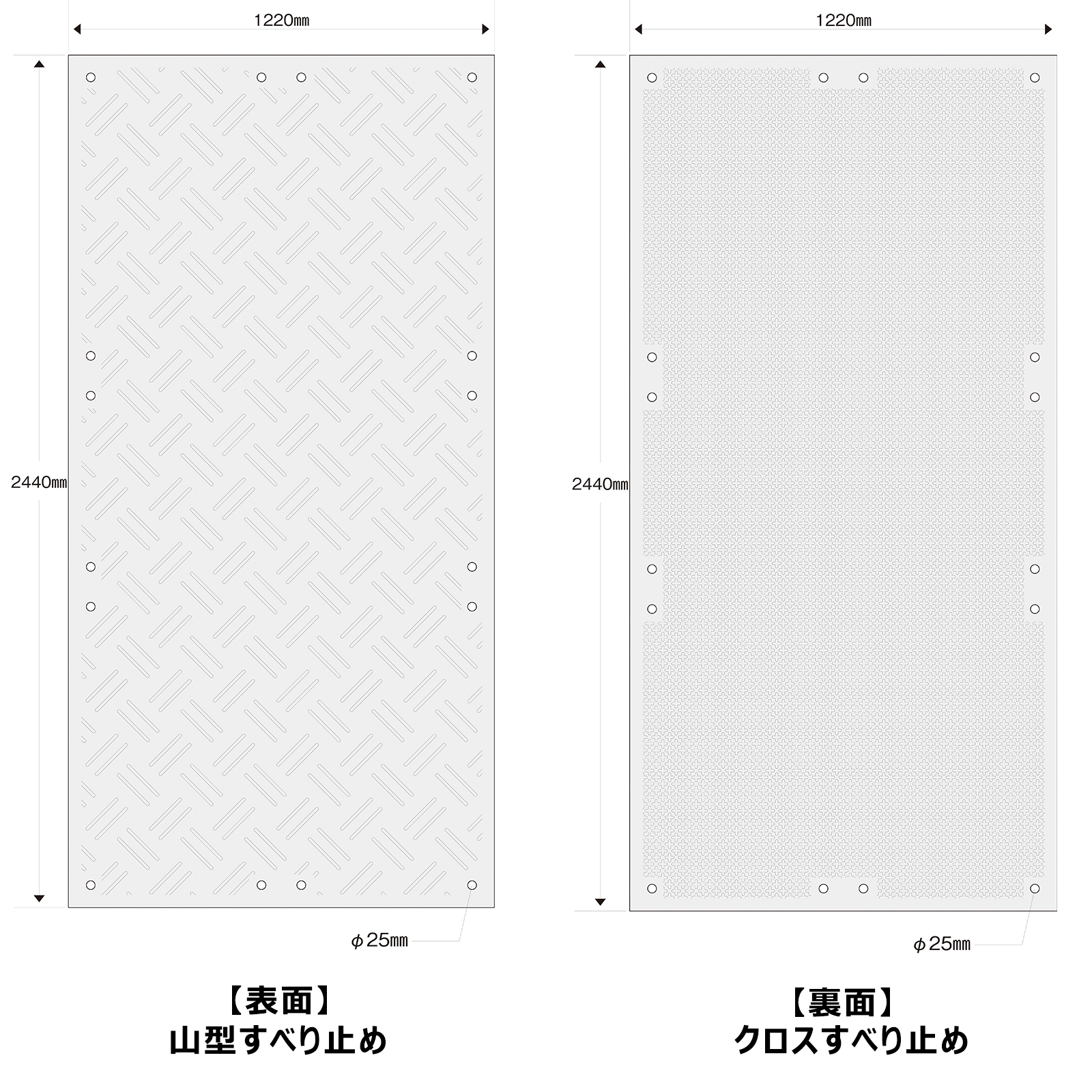 こうじばん4×8山型/クロス寸法図