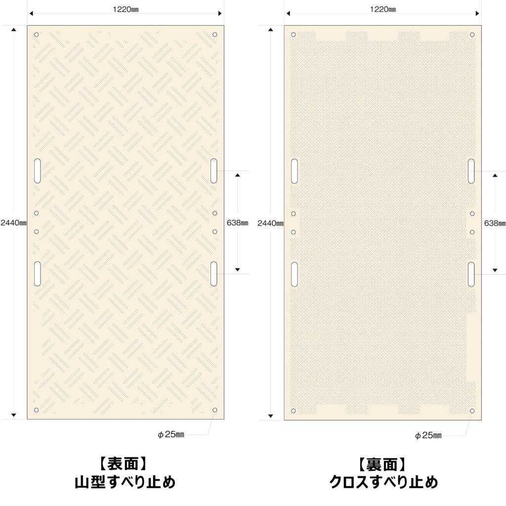 強化型プラスチック敷板こうじばん4×8山型/クロス(ベージュ)